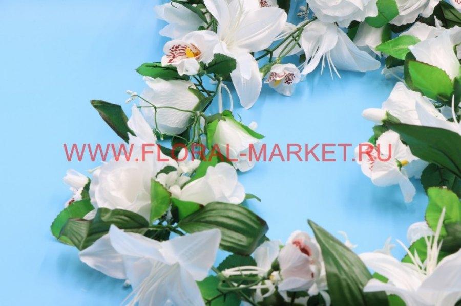 З366 Лиана розы с лилиями и орхидеями L=190см.