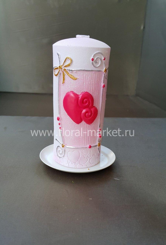"""С9202 Свеча пенек """"Сердечки"""""""