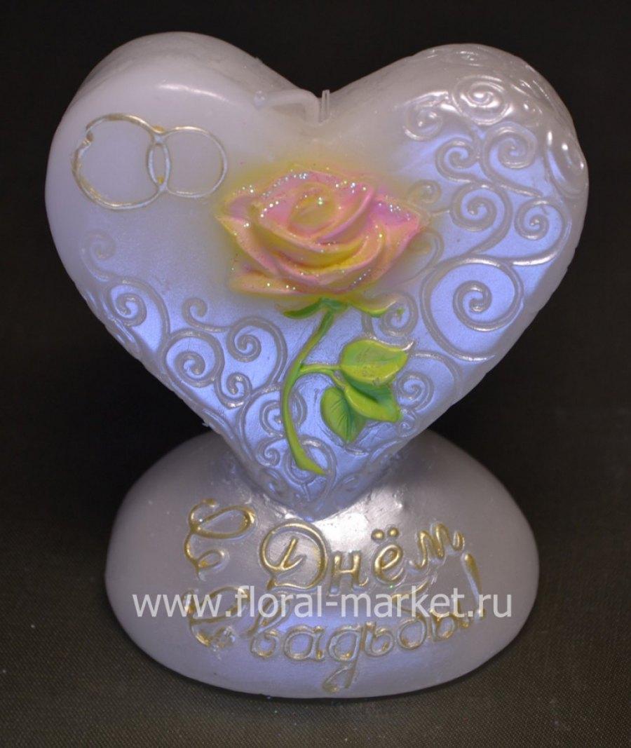 С2165 Свеча сердце с розой  хамелеон