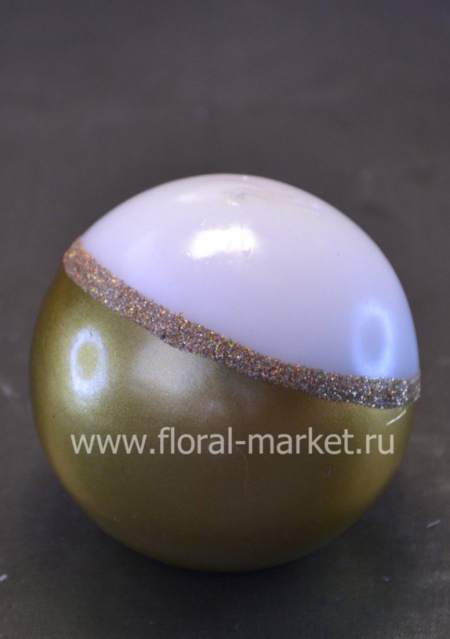 С6028 Свеча шар золотисто-белый