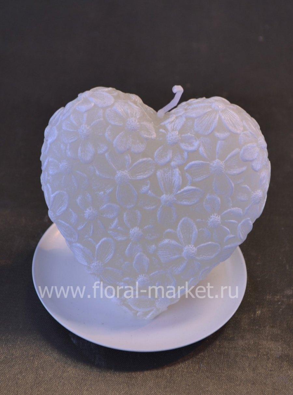 С0567 Сердце цветочное кремовое