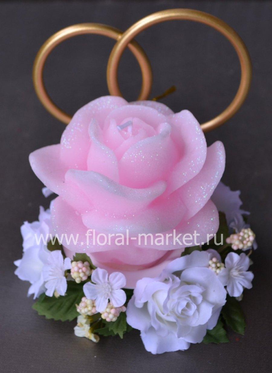 С9013 Свеча «Роза свадебная» (розовая) Хамелеон ар