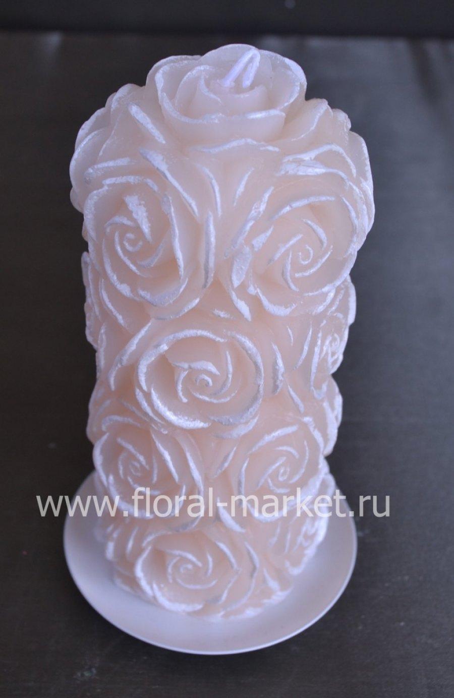 С7506 Свеча пенек в розах кремовый