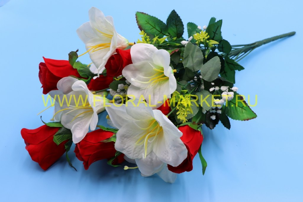 Б788 Букет роза бутон+лилия 18 гол.