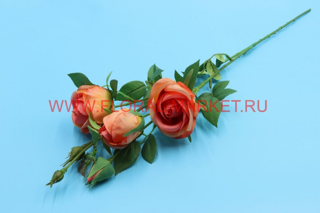 В2677 Ветка роз двойная 3г.+3б.h=65см.