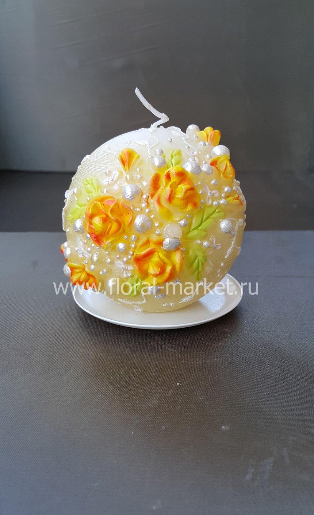 "С2184 Свеча шар ""цветочная фантазия"" золотая"