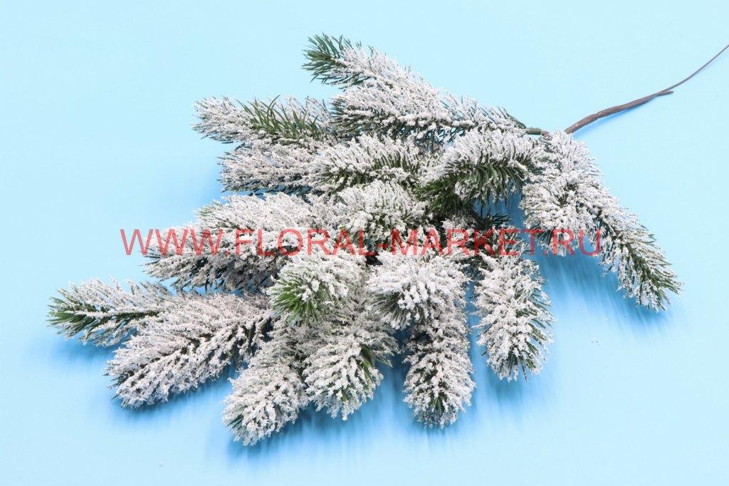 В212 Ветка елки большая со снегом h=50см.