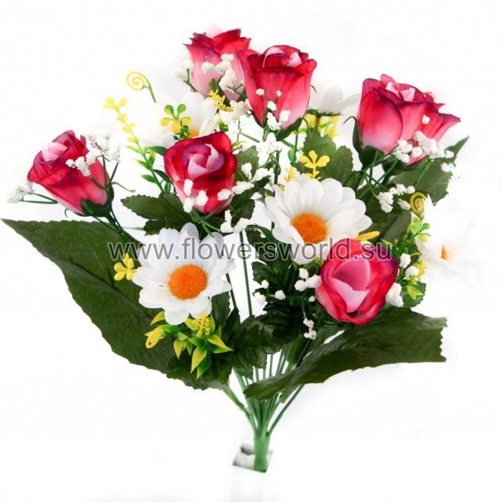 Б360 Букет роза бутон+ромашка