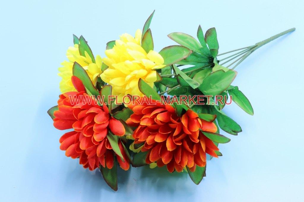 Б8079 Букет хризантем в розет двухцвет. 6г.h=45см.