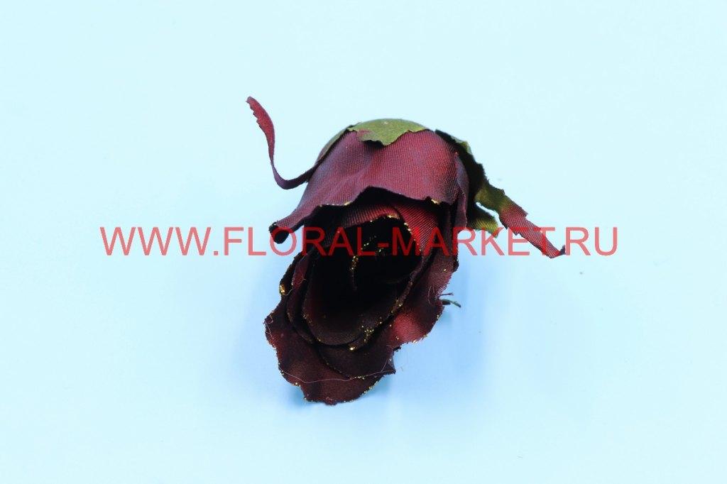 Г0365 Голова роза бутон с золотом