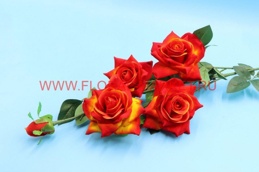 В2594 Ветка роза барх.4г.+1б.h=110см.