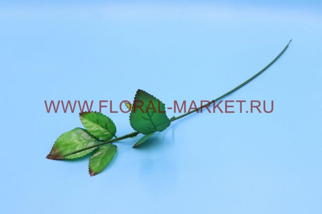 О1275 Нога для розы с двумя листами h=57см.12.75