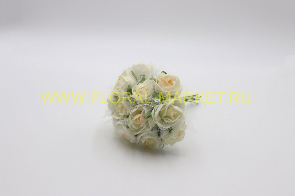 Роза латексная №12689 с фатином (12 шт.)