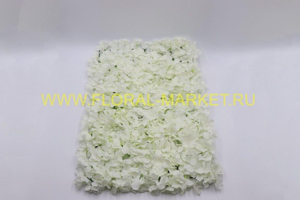 Б1035 Панно из бел.цветков гортензии 42х62см.