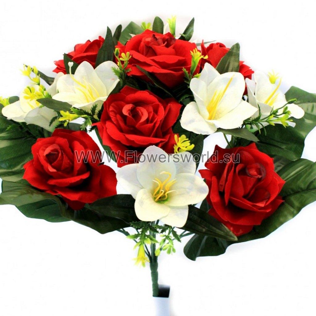 Б495 букет роза бархат+лилия