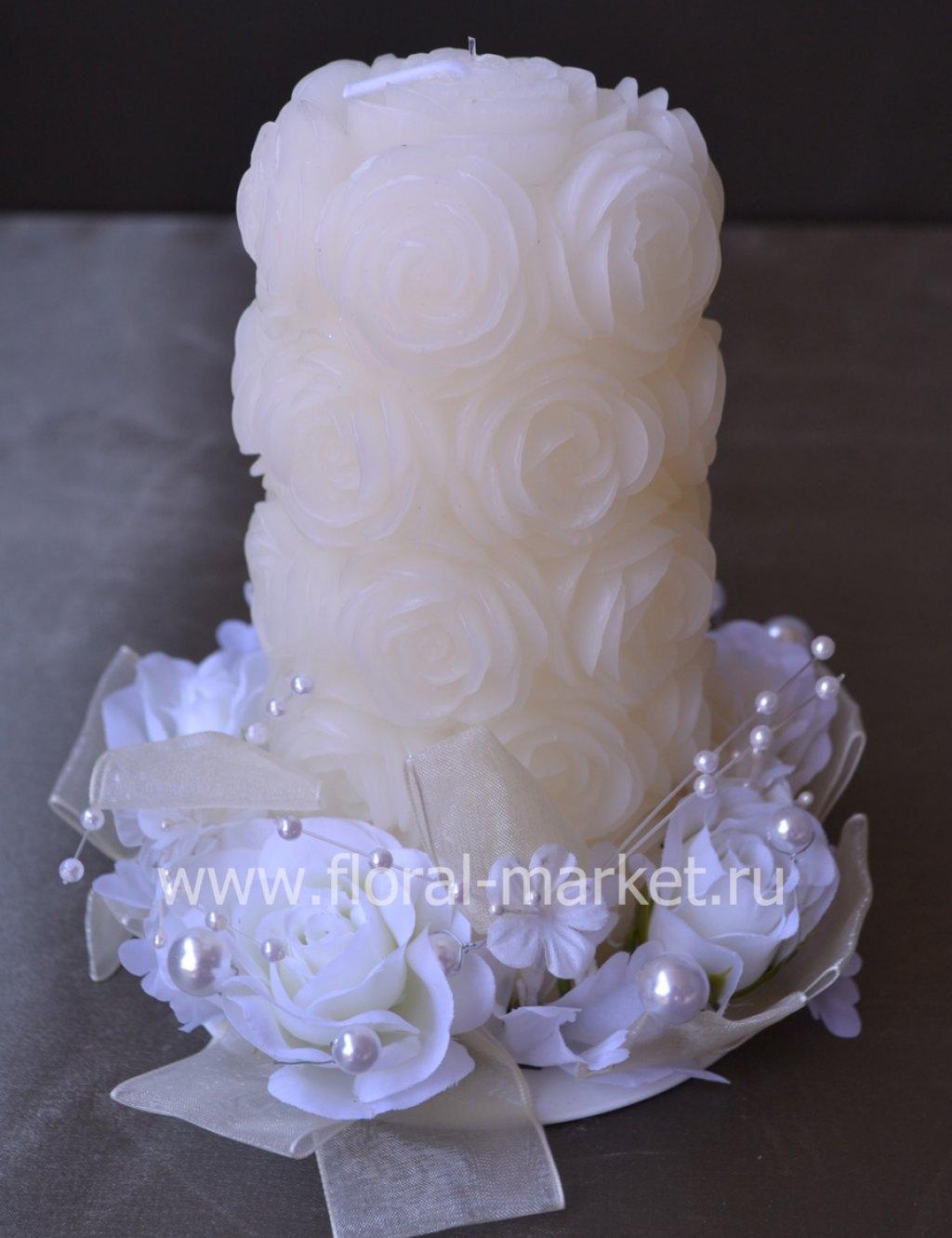 С9084 Свеча свадебная в розах Хамелеон