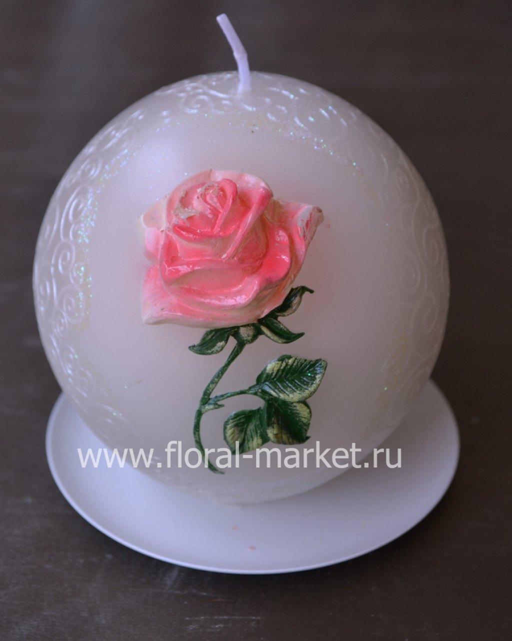 С9217 Свеча мигающая хамелеон шар роза