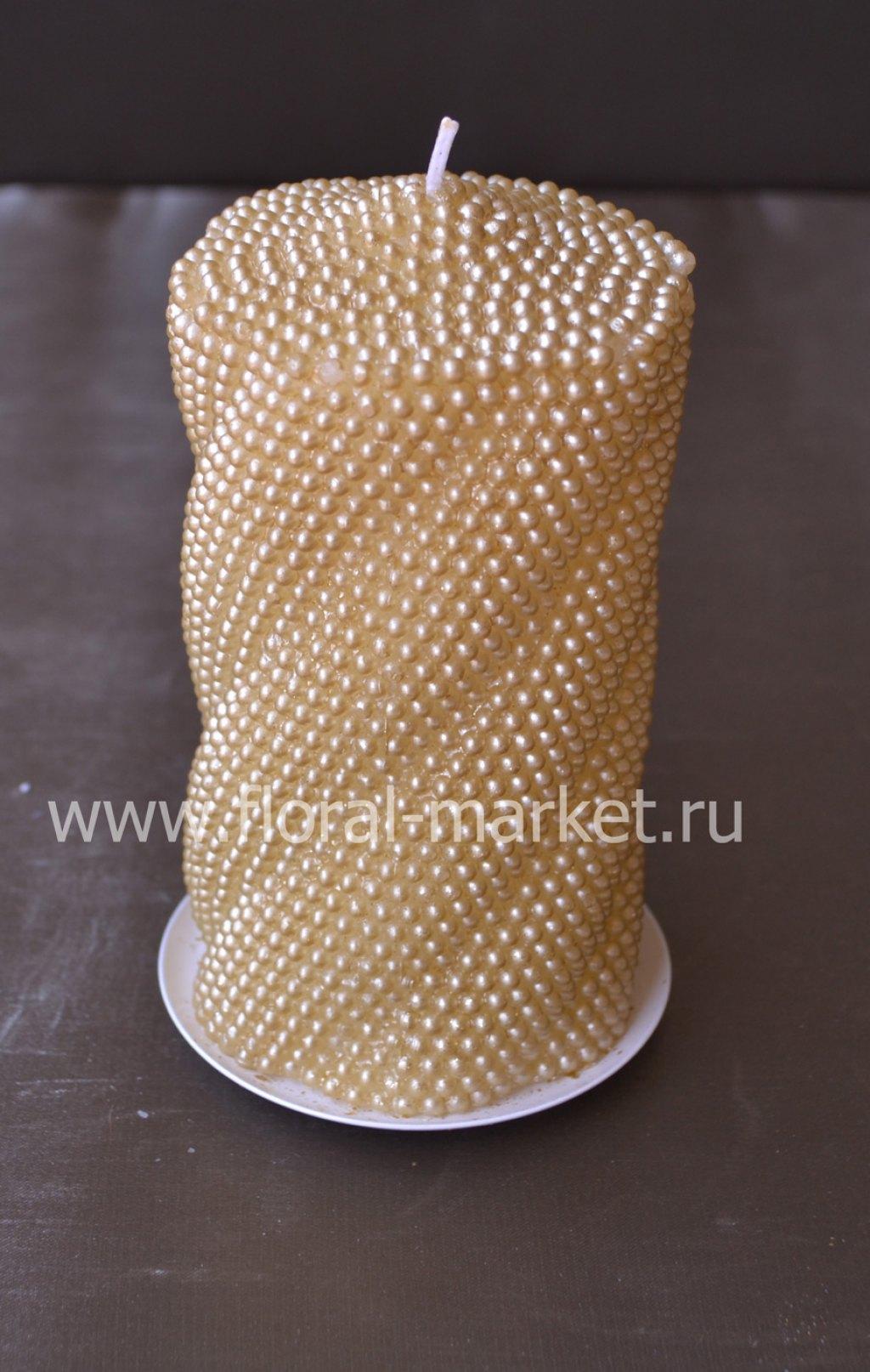 С2124 Свеча пенек витой жемчужный золотая