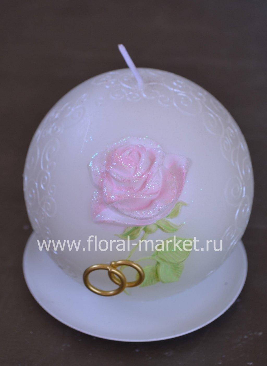 """С9919 Свеча шар свадебный """"роза""""хамелеон"""