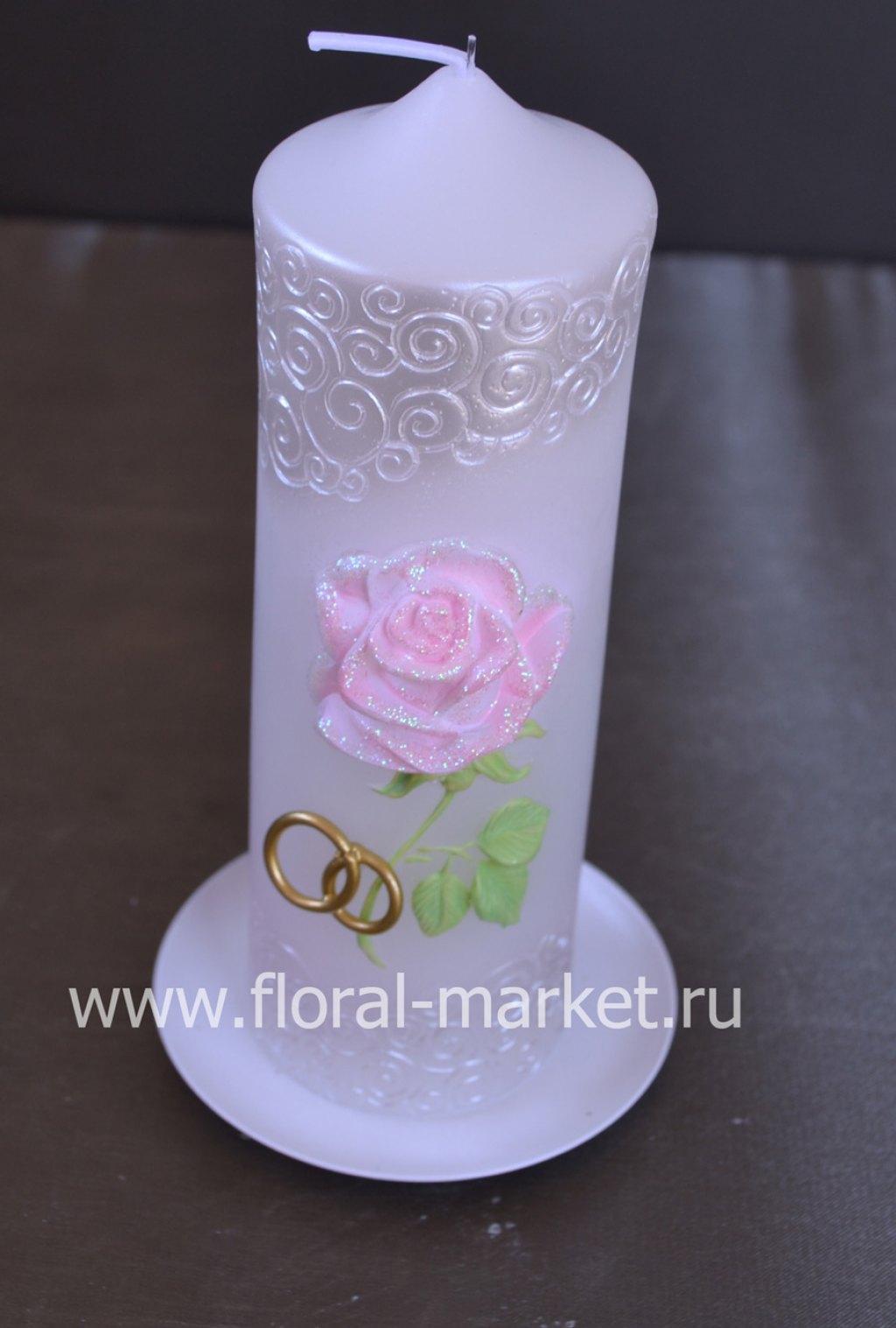"С9918 Свеча пенек свадебный ""роза""хамелеон"