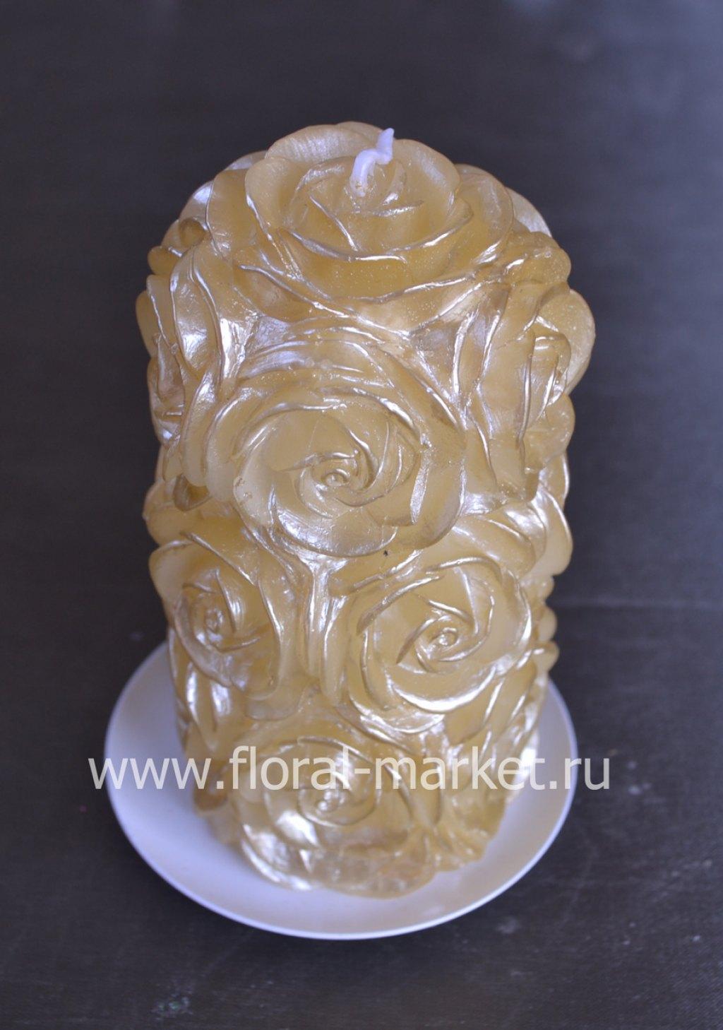 С0585 Свеча пенек в розах золотой