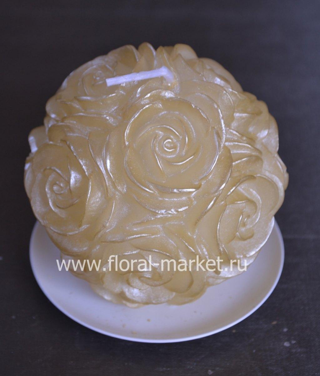 С0580 Свеча шар в розах золото
