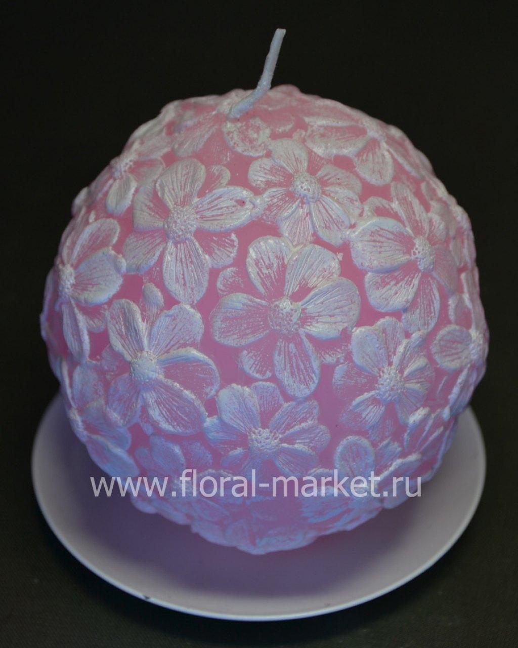 С0562 Свеча шар цветочный розовый