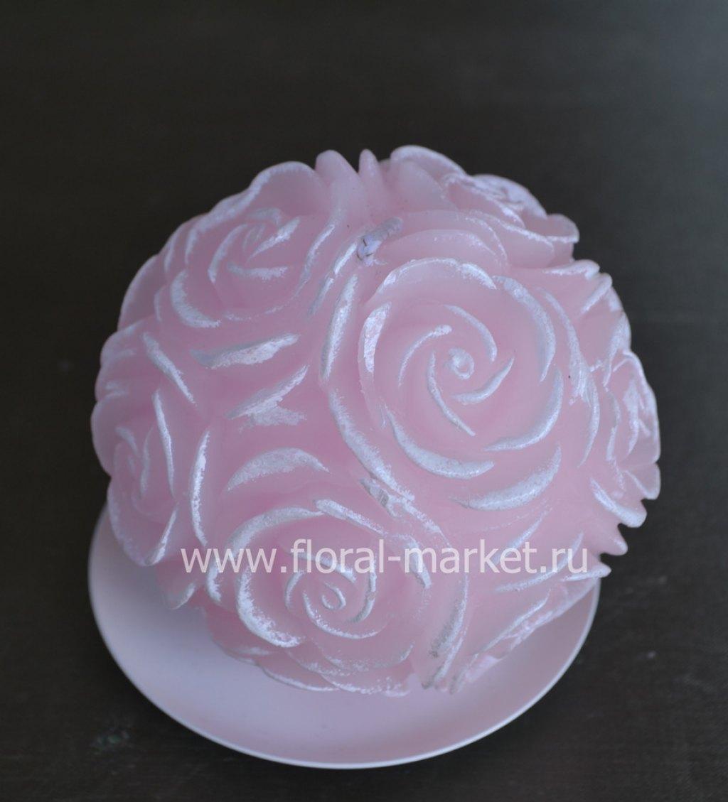 С7520 Свеча шар в розах розовый