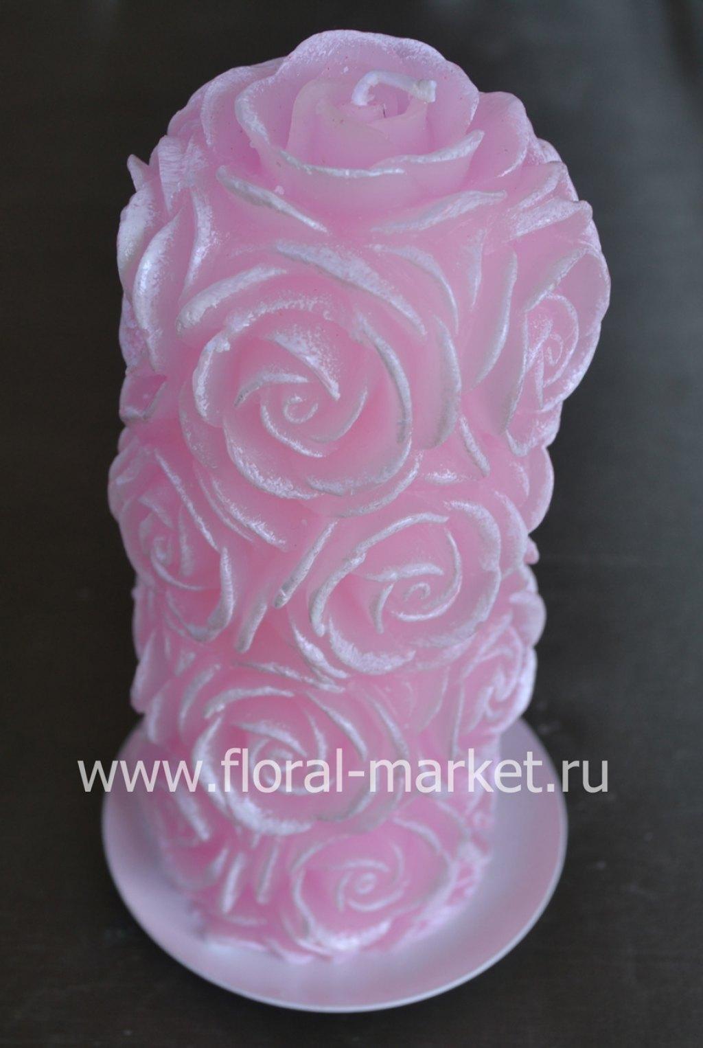 С7522 Свеча пенек в розах розовый