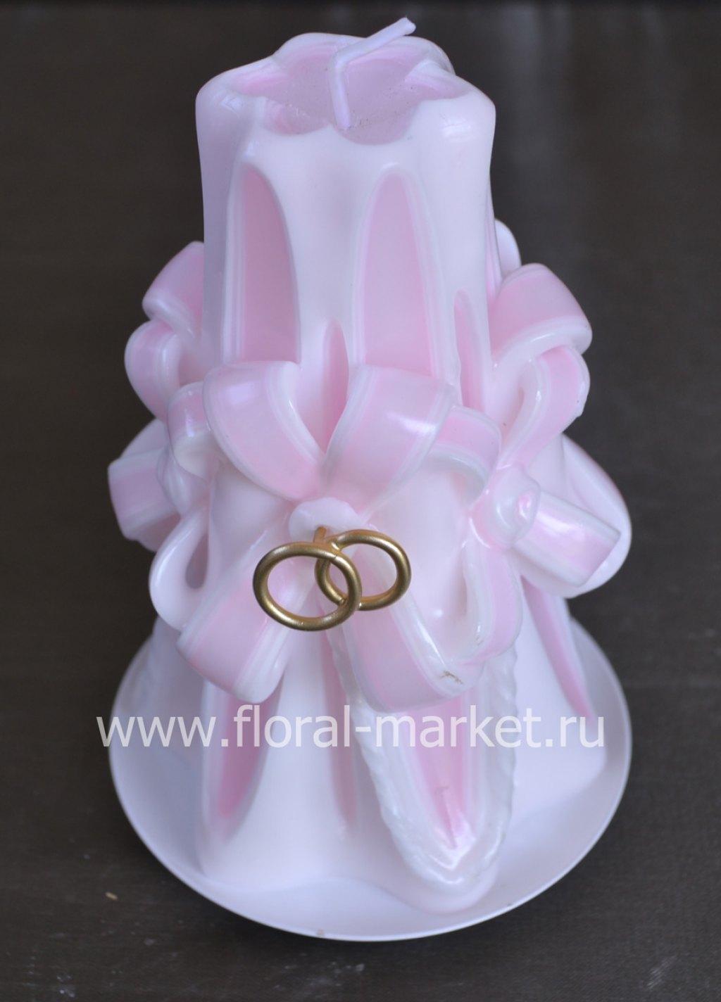 С991628 Свеча резная малая с бантом розов хамелеон