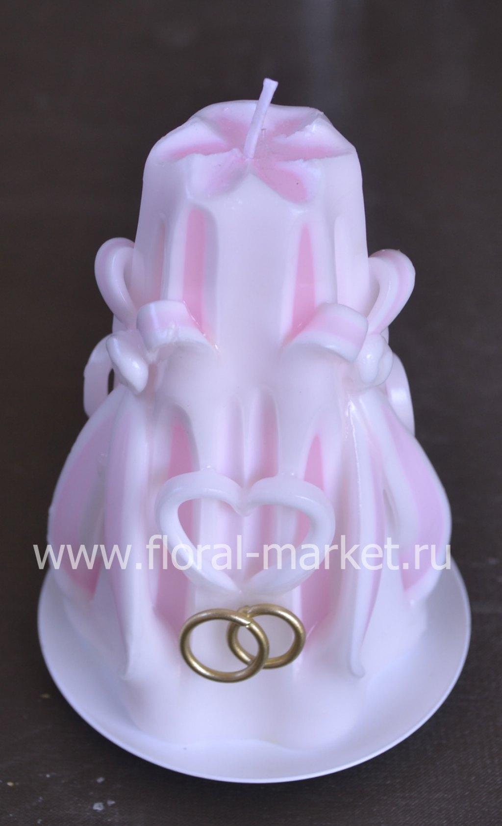 С991428 Свеча резная мини с сердцами розовая хамел