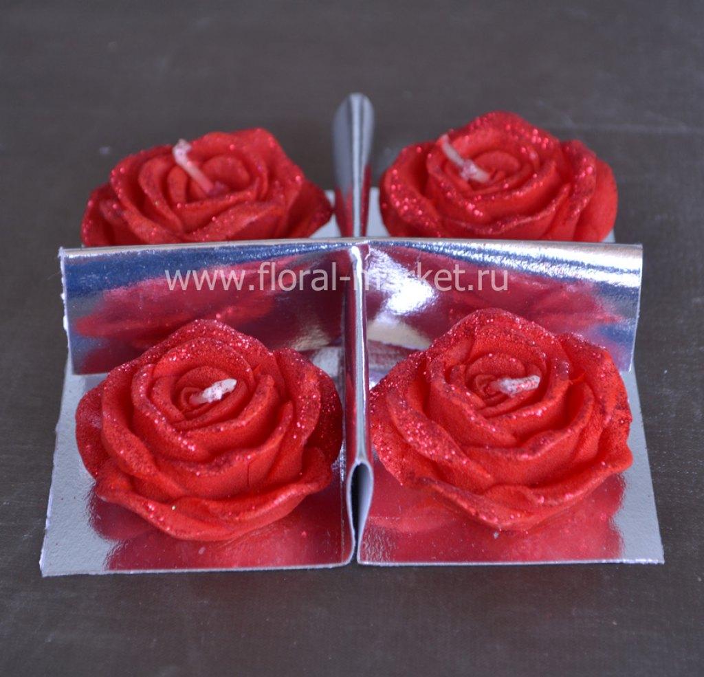 С3358 Набор свечей розочки красные