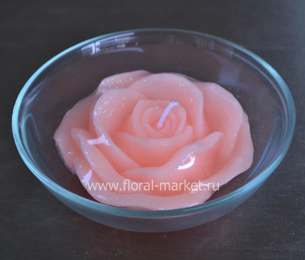С3372 Свеча роза оранжевая плавающая