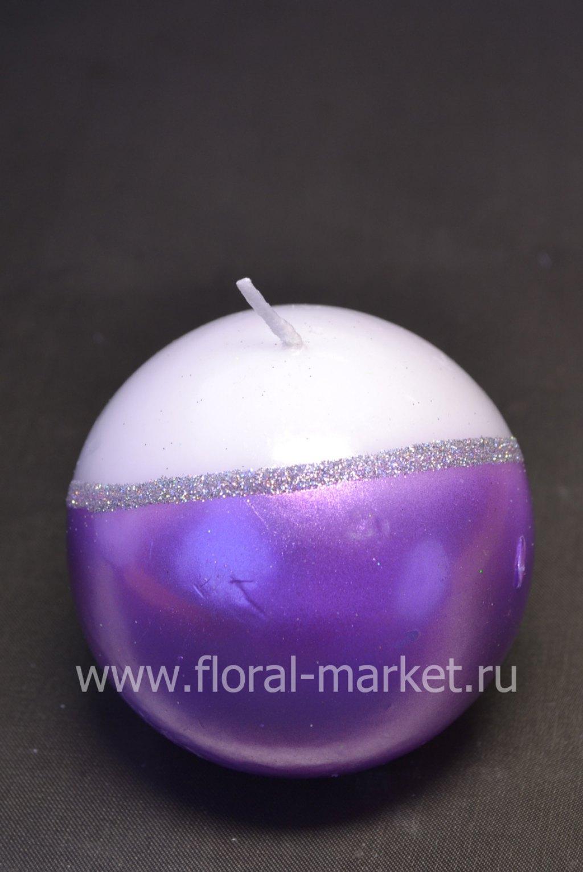 С6029 Свеча шар сиренево-белый