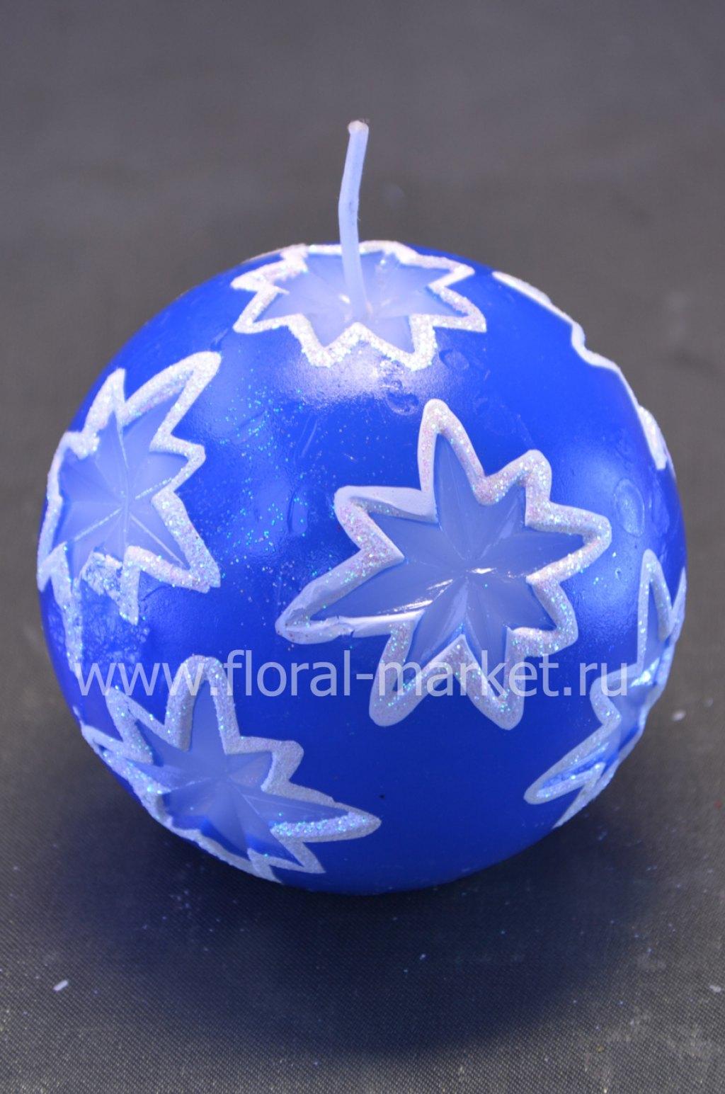 С1405 Свеча мигающая Хамелеон шар резной синий