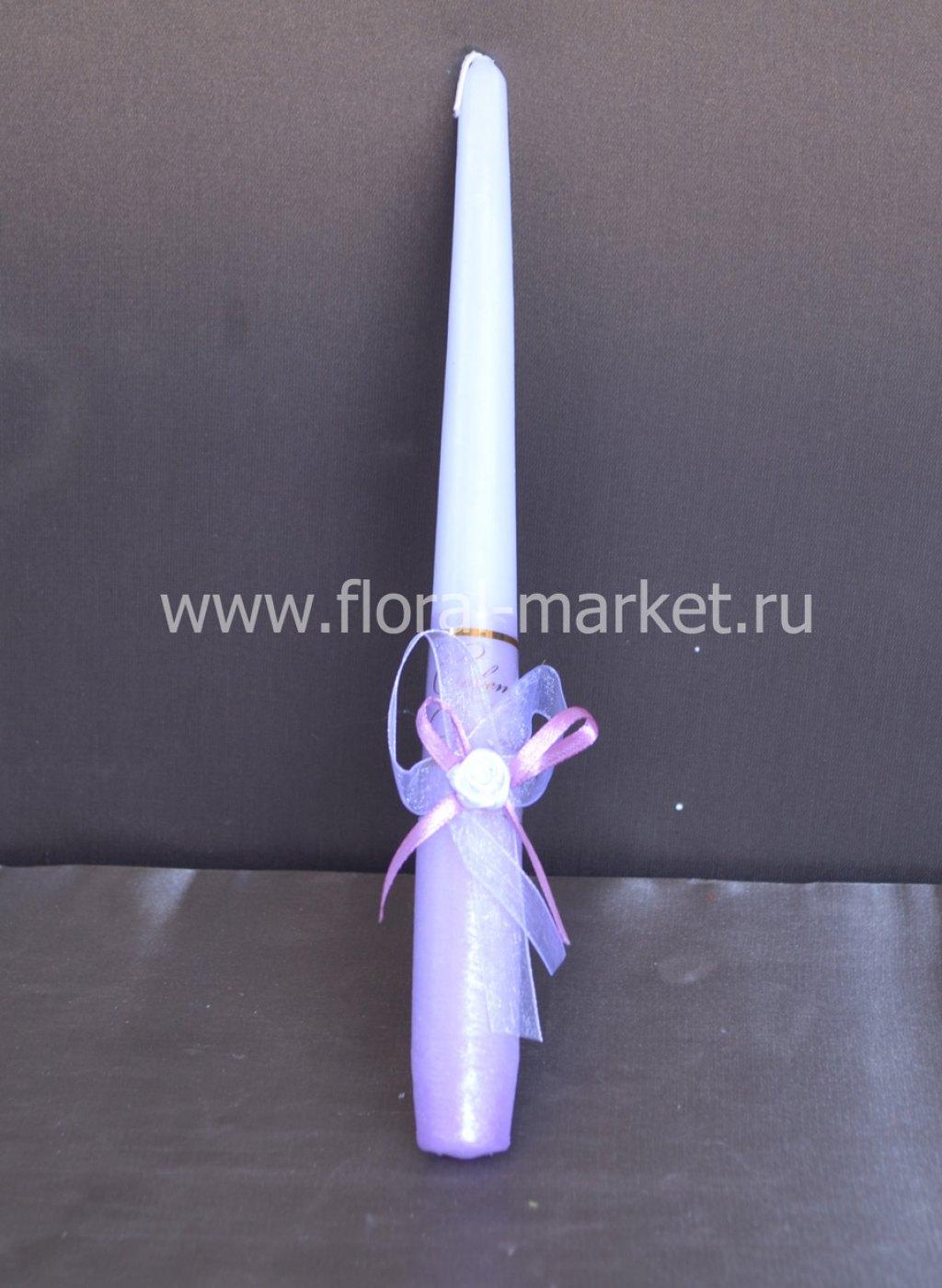 С7967 Свеча античная свадебная сиреневая