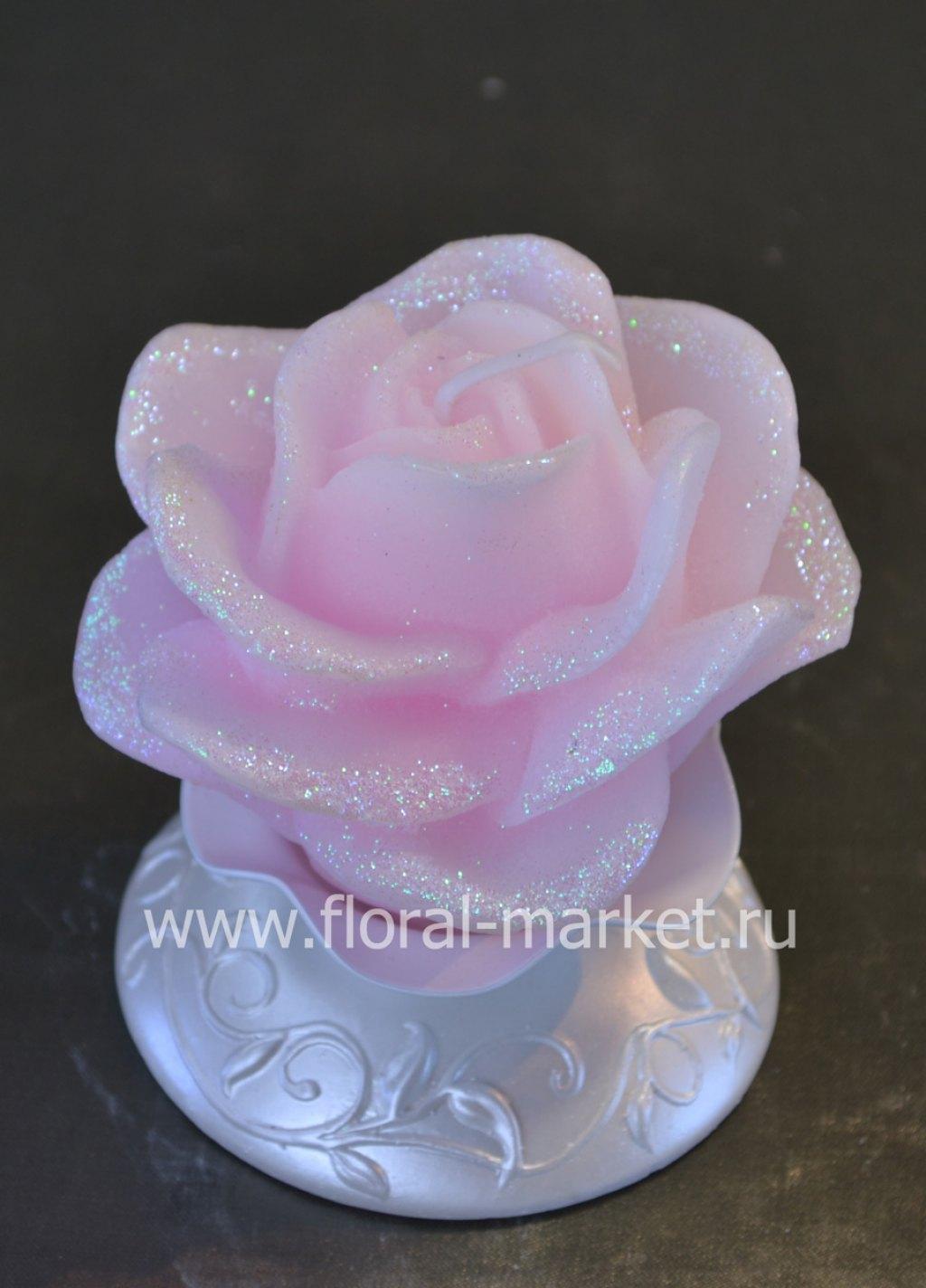С1457 Свеча мигающая хамелеон Роза на подсвечнике