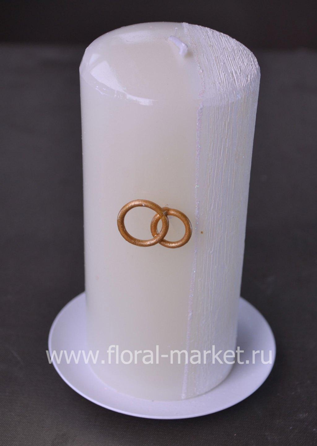 С9937 Свеча пенек свадебный хамелеон белая