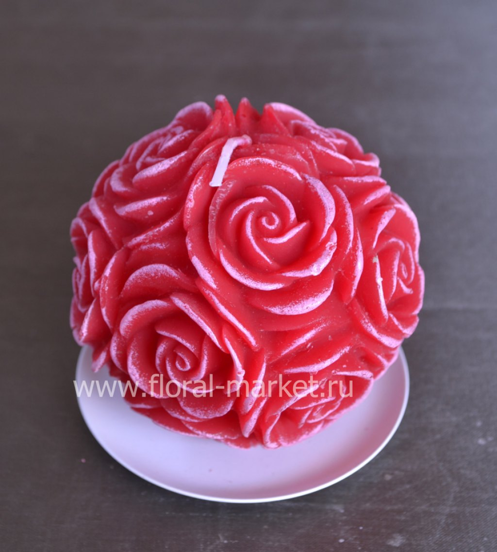 С7507 Свеча шар в розах бордо
