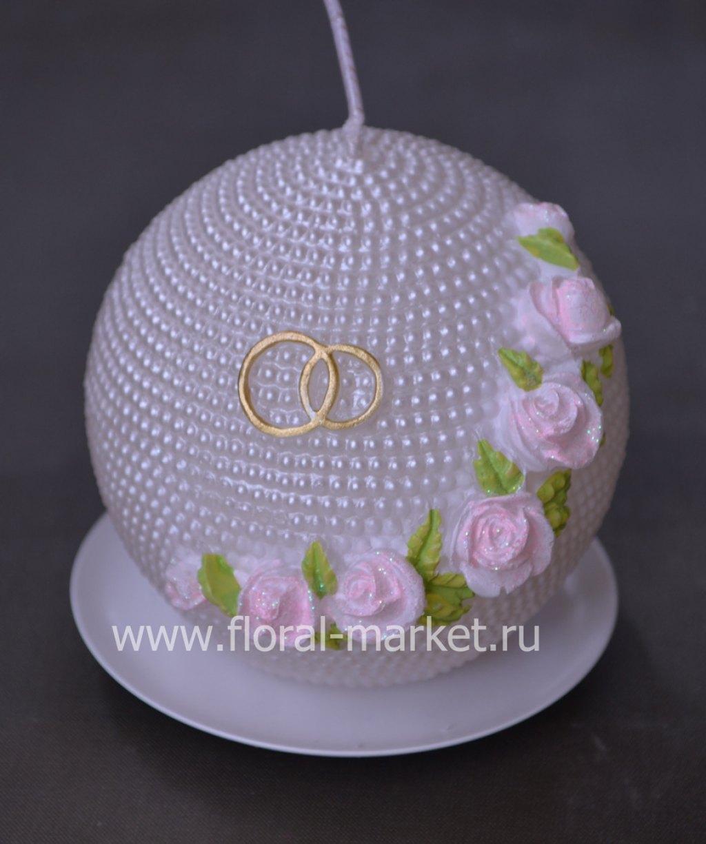 С2106 Свеча  шар жемчужный с розами хамелеон