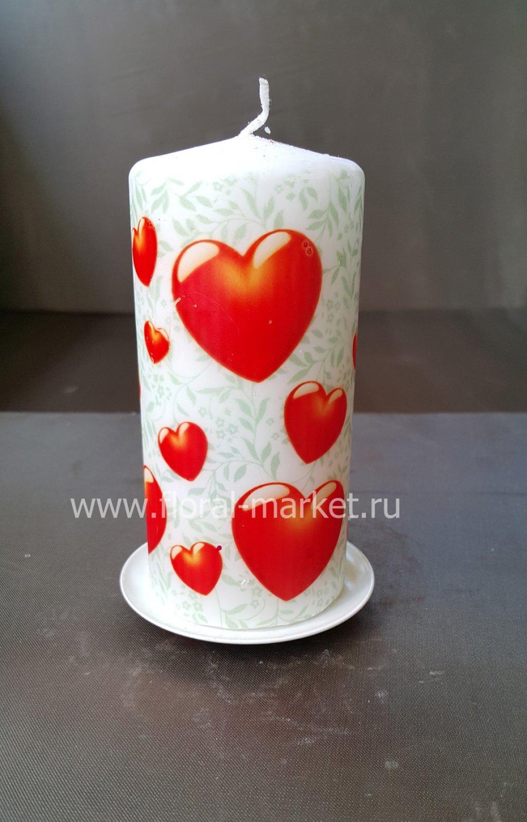 С6152 Свеча пенек подарочный сердце на узоре