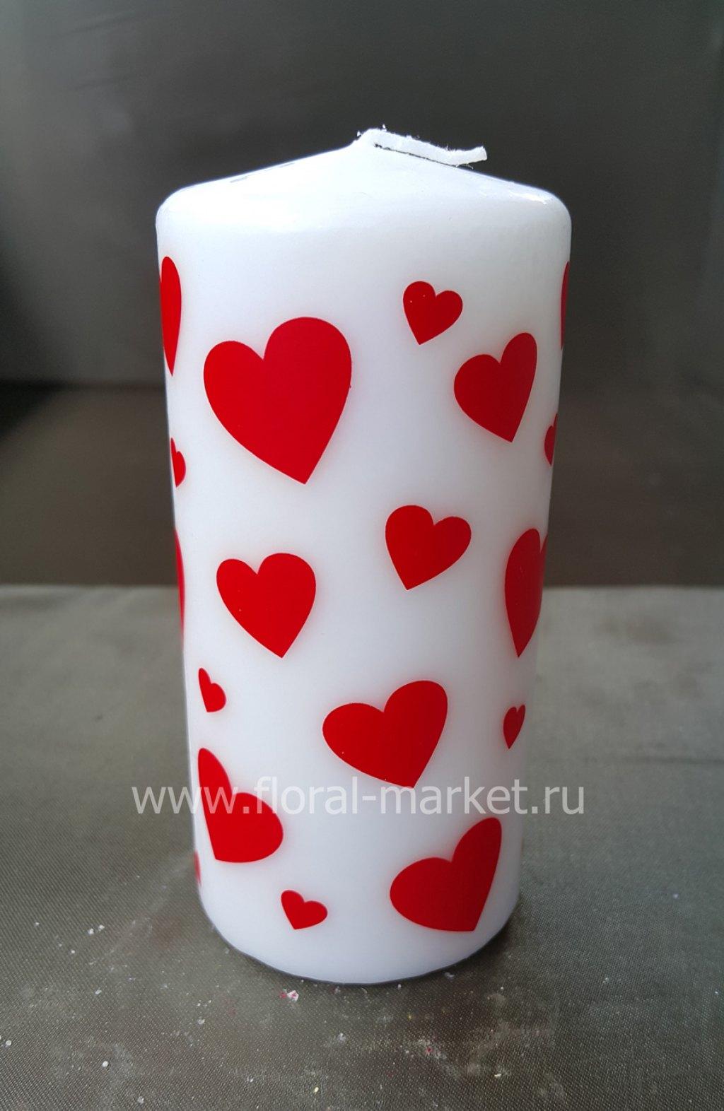С0515 Свеча пенек с сердечками
