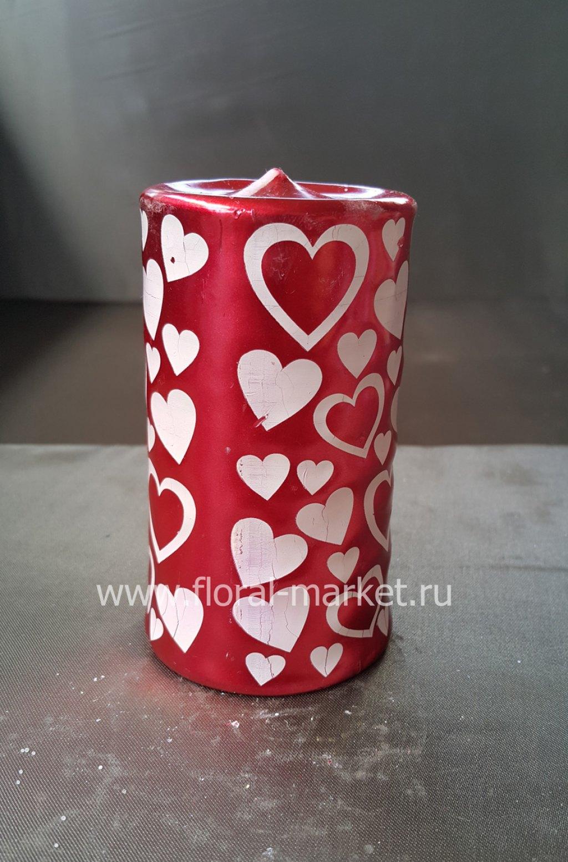 С6059 Свеча пенек подарочный с сердечками