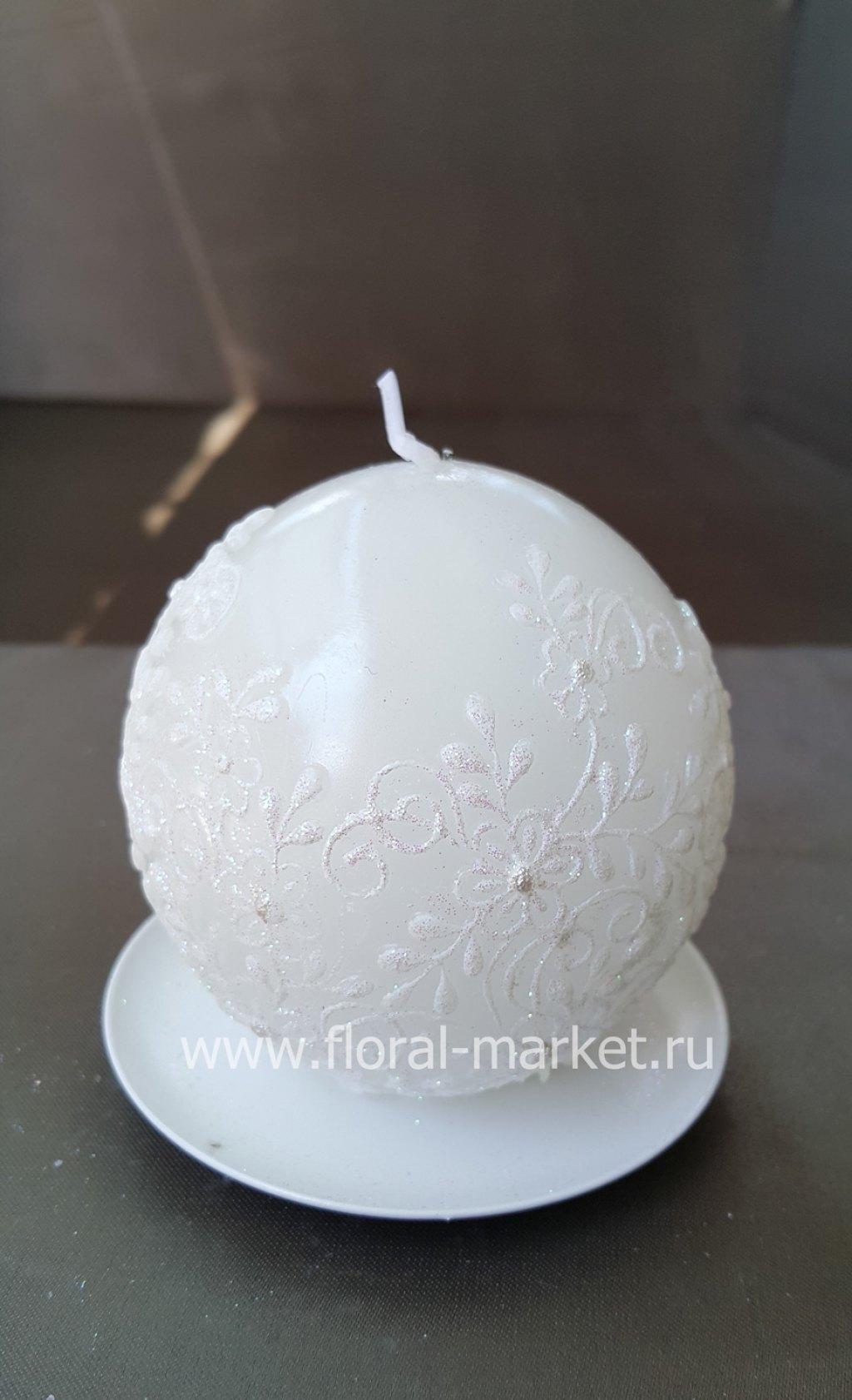 """С2113 Свеча шар """"кружево"""" белая хамелеон"""