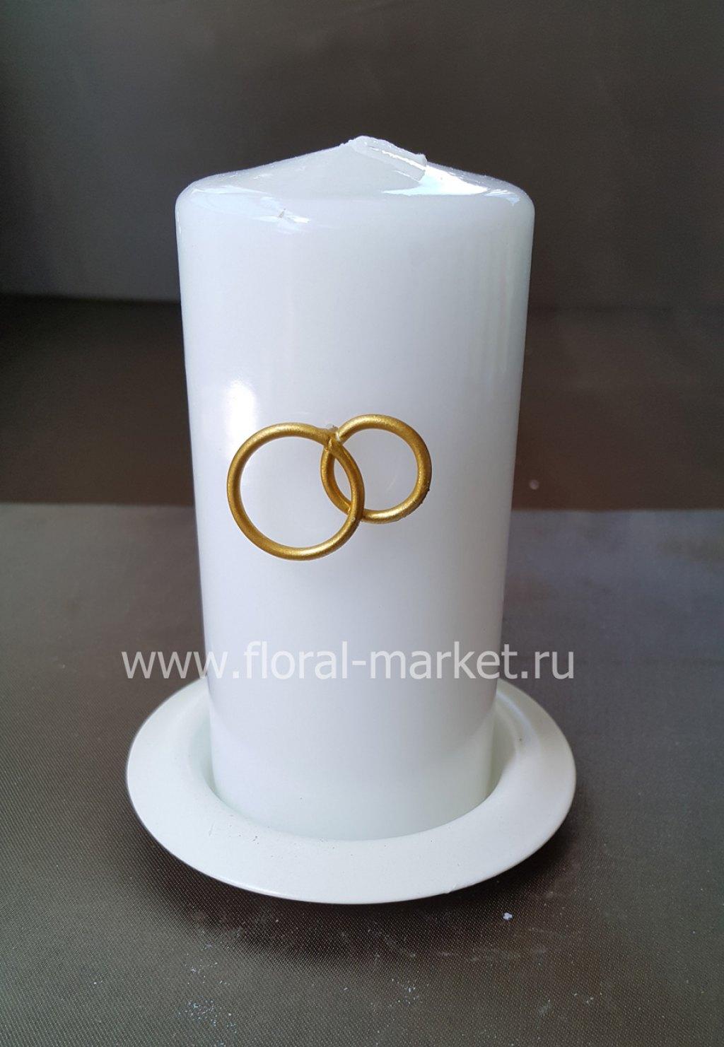 С9076 Свеча пенек свадебный с подсвечником