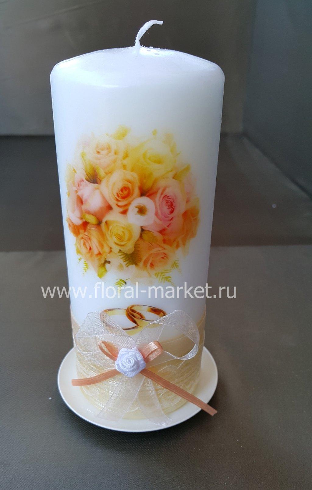 С7920 Свеча пеньковая свадебный букет