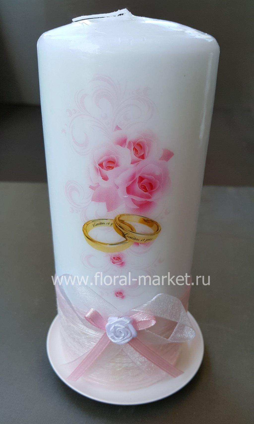 С7919 Свеча пеньковая свадебные цветы