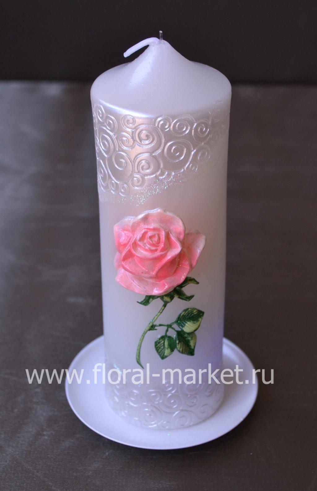 С9216 Свеча мигающая хамелеон пенек роза