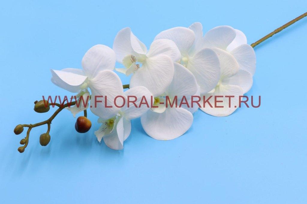 """В2496 Ветка орхидея """"Бруно"""" (белая) 7г+5б в.-90см."""