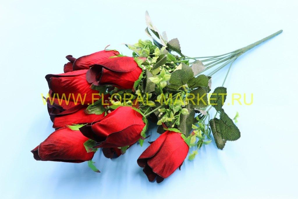 Б319 Букет роза бутон бархат 11 гол.h=56см.